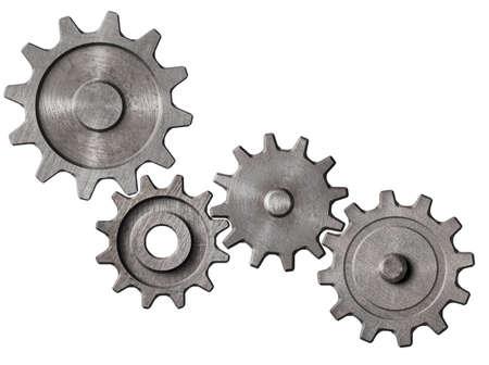 metalen tandwielen en radertjes cluster geïsoleerde 3d illustratie Stockfoto