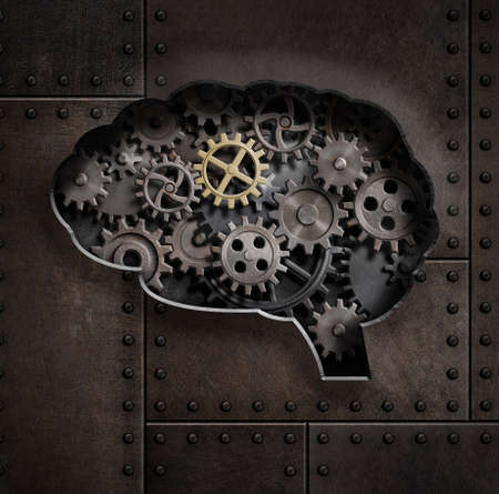 Brain gears and cogs concept 3d illustration Stock Photo