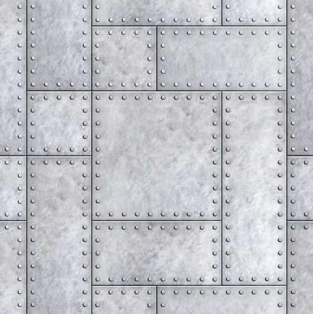 armoured metal plates with rivets background or texture 3d illustration