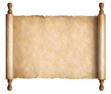 Old scroll parchment with wooden handles 3d illustration Banco de Imagens - 92401326
