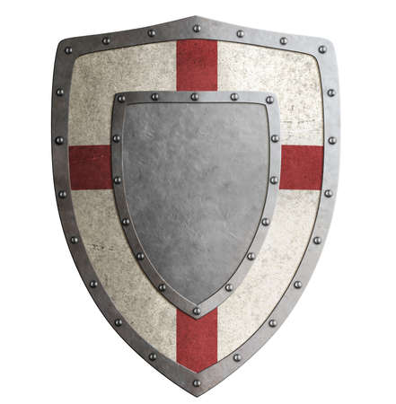 Ancient templar or crusader metal shield 3d illustration