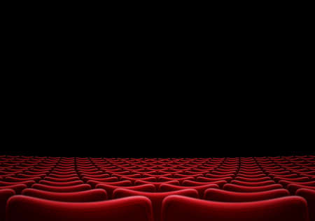 auditorium or cinema hall with red arm chairs 3d illustration