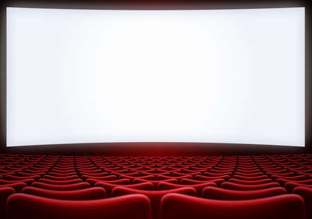 cinema screen with red seats backgound 3d illustration