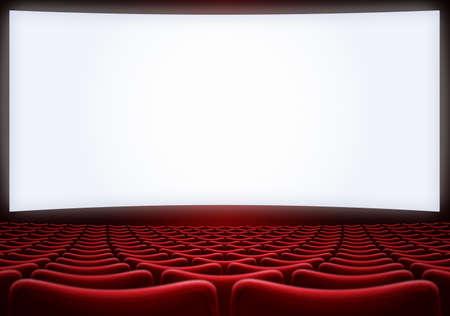 Pantalla de cine con asientos rojos backgound ilustración 3d