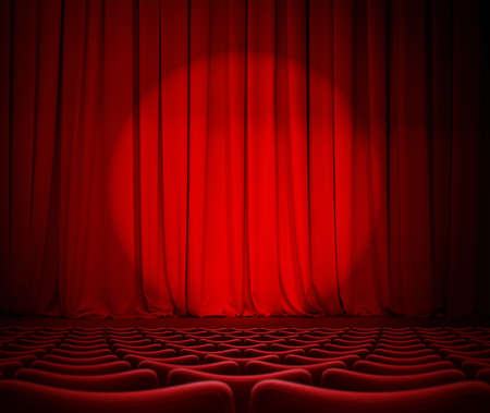 theater red curtains and seats 3d illustration Stock Photo