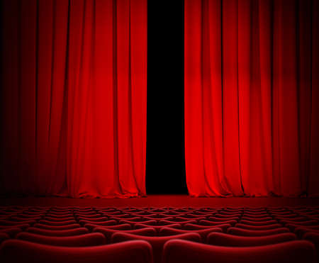 Open theater red curtain on stage 3d illustration Stock Photo