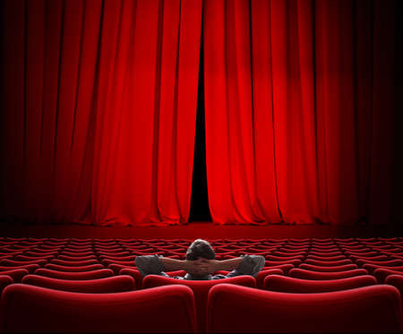 man sitting alone in VIP movie theater hall 3d illustration Stock Photo