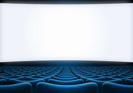 movie theater screen with blue seats 3d illustration