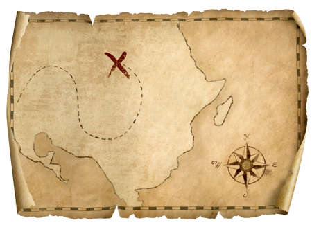 treasure pirates old map isolated 3d illustration with light direction from right 免版税图像
