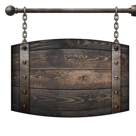 Wooden barrel medieval signboard hanging on chains isolated 3d illustration Archivio Fotografico