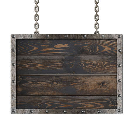 old metal frame over wooden background isolated