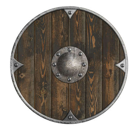 old wooden vikings' shield isolated on white Stock Photo - 95591152