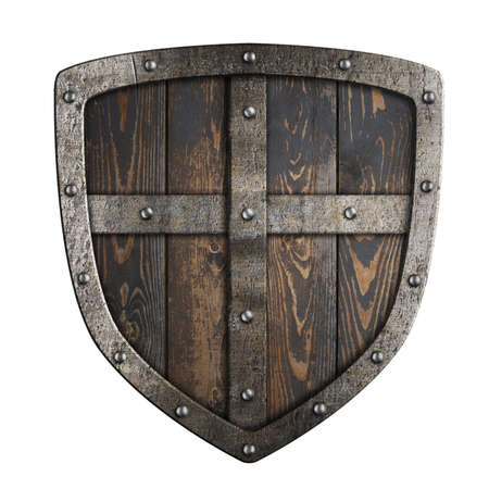 Wooden medieval vikings shield with metal frame and cross 3d illustration