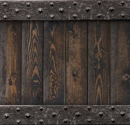 medieval background with old metal frame over wooden planks 3d illustration