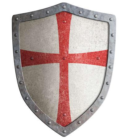 Metal shield of medieval templar or crusader 3d illustration Banque d'images