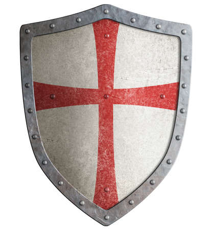 Metal shield of medieval templar or crusader 3d illustration Stock Photo