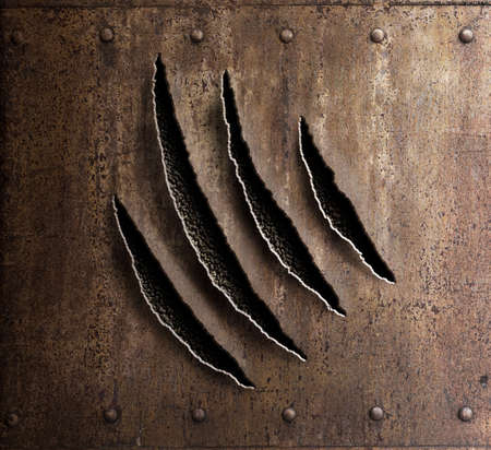 claw marks on rusty metal armor with rivets 3d illustration