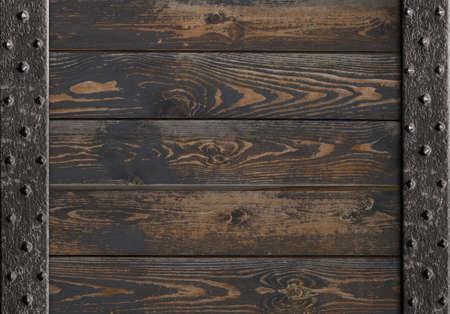 medieval metal frame over wooden planks 3d illustration
