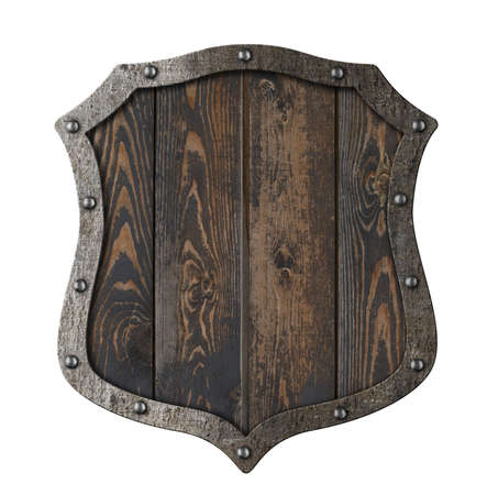 Wooden medieval heraldic shield isolated 3d illustration