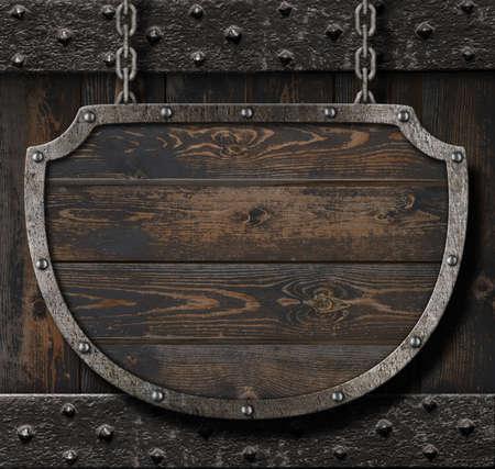 Medieval sign on wood background 3d illustration Foto de archivo - 96249916