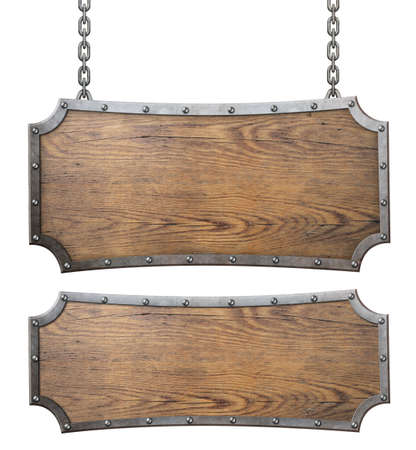 Medieval wood signs set with chain 3d illustration