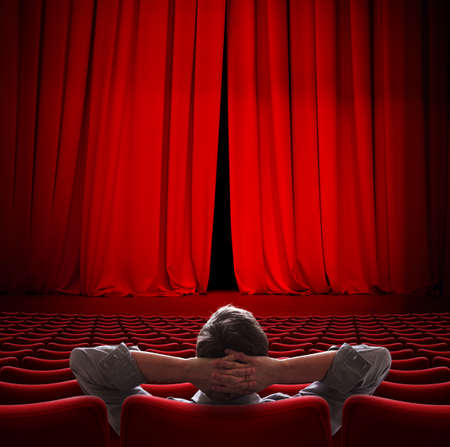 VIP sitting in movie theater red curtain 3d illustration Stock Photo