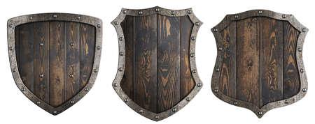 Wooden medieval heraldic shields set isolated 3d illustration Stock Photo