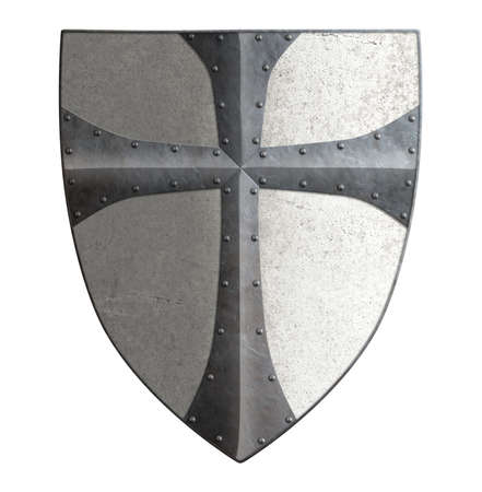 Ancient templar or crusader metal shield isolated on white