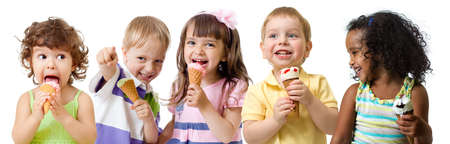 five kids group eating ice cream isolated
