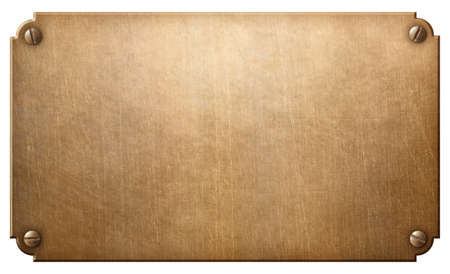 old copper or bronze metal plate with rivets isolated on white Standard-Bild