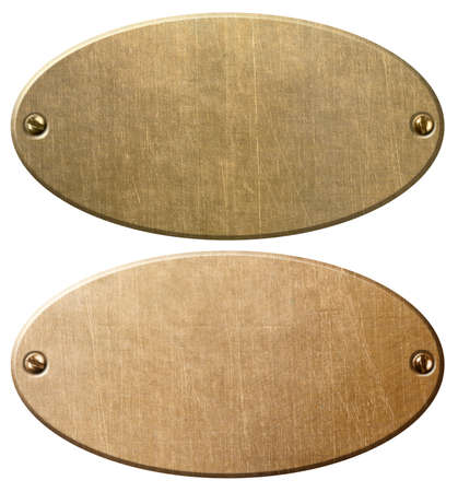 old copper and brass oval metal plates or nameboards Standard-Bild