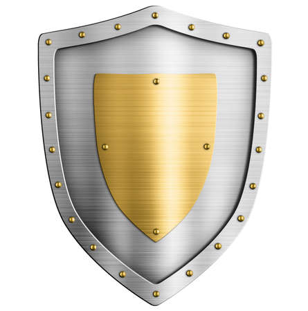 Metal silver classical shield with gold coat of arms isolated