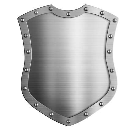 Metal tall classical shield or coat of arms isolated on white Stock Photo