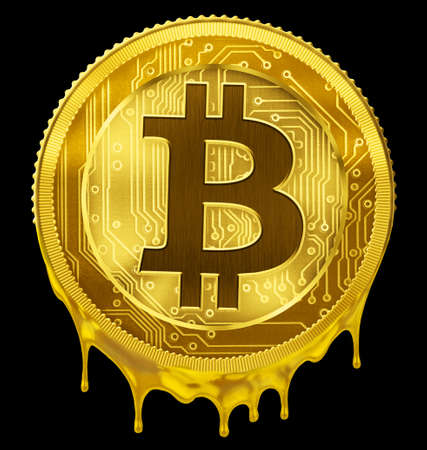 Melted Bitcoin or BTC failure concept 3d illustration Stock Photo