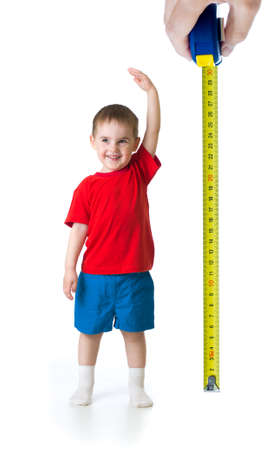Baby height measuring isolated on white studio shot