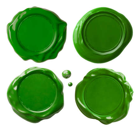 Green wax seals set isolated