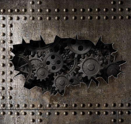 錆びたギアと歯車の3Dイラストを持つ古い金属装甲の背景 写真素材