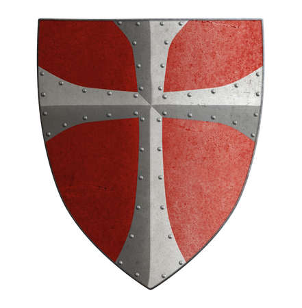 medieval crusaders metal shield 3d illustration