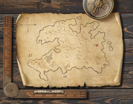 Old medieval pirates map with compass. Adventure and travel concept. 3d illustration. Stock Photo