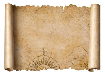 vintage treasure map scroll isolated