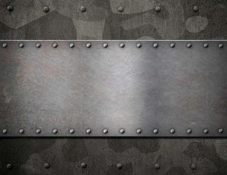 軍用迷彩装甲3Dイラストの上に金属板
