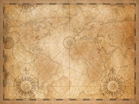 Vintage medieval nautical world map background