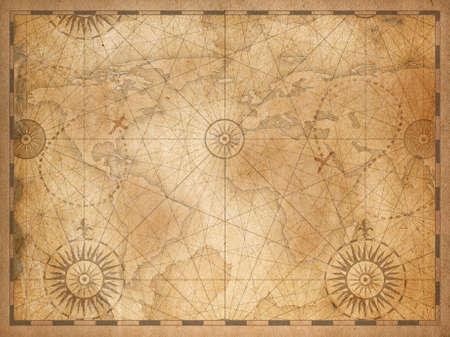 Vintage middeleeuwse nautische wereldkaart achtergrond