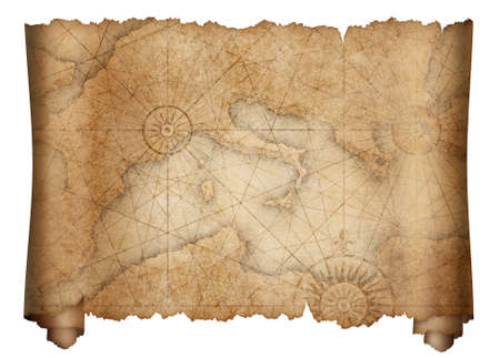 old mediterranean map scroll isolated on white