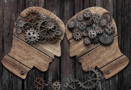 Psychology concept. Mental battle man vs man.