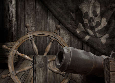 Pirates ship deck with old jolly roger flag 3d illustration