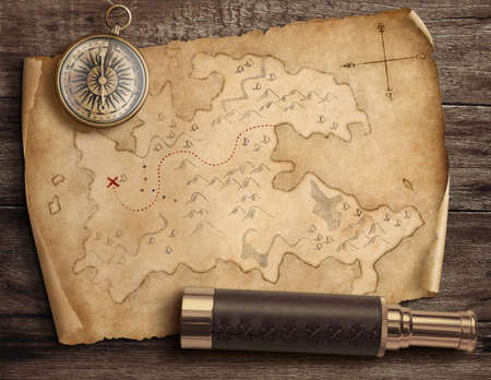 Old torn treasure map with compass and spyglass. Adventure and travel concept. 3d illustration. Standard-Bild - 116952673