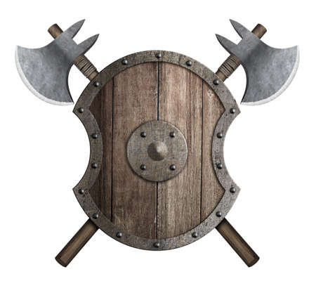 Wooden medieval shield with crossed battle axes 3d illustration Standard-Bild - 117269172