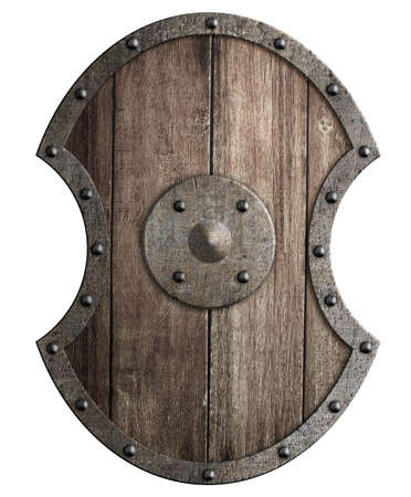 Large wooden shield with metal frame isolated 3d illustration Standard-Bild - 117269173