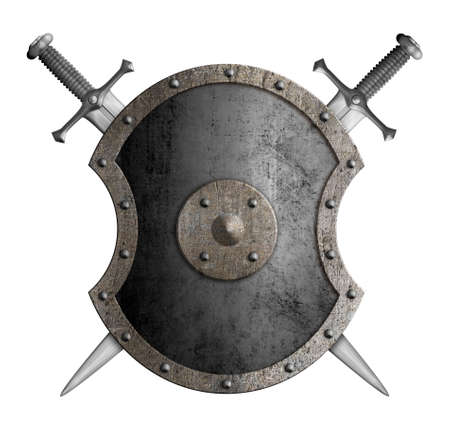 metal shield with crossed swords isolated 3d illustration Stock Photo